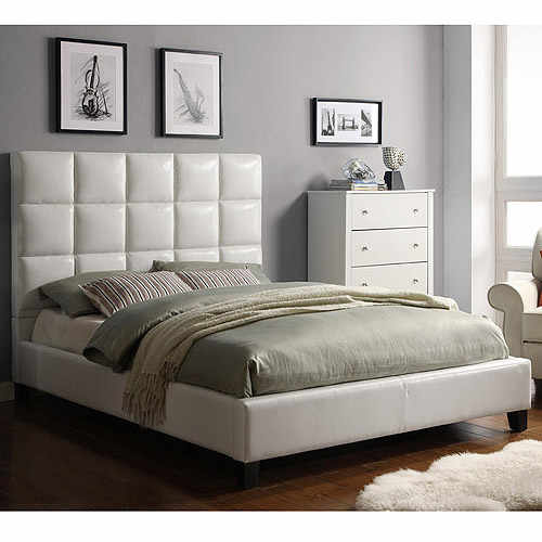 High Back Modern leather Soft Bed,Cream White leather Best Furniture at Bedroom, Modern Design  Soft Beds SA05