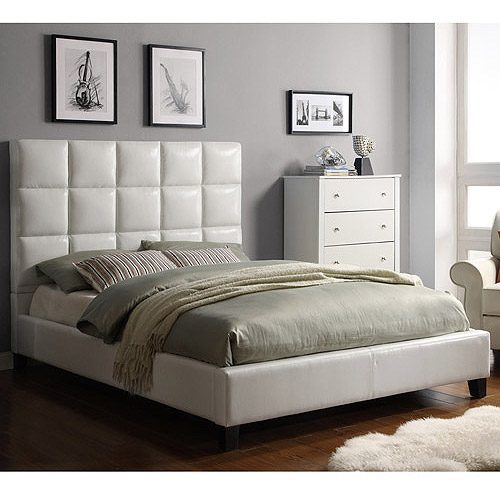 Respaldo Alto moderno cama de cuero suave, cuero blanco crema ...