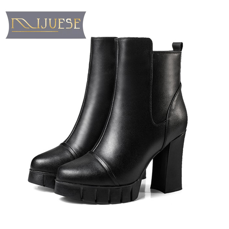 MLJUESE 2018 women ankle boots cow leather shearing zippers black color high heels winter warm platform motorcycle boots