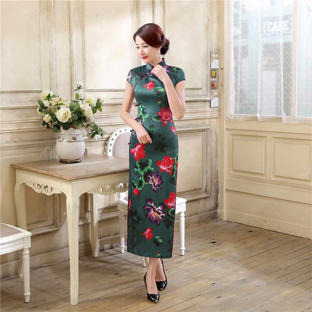 Vintage mandarine col chinois femmes robe traditionnelle Satin fleur Qipao Long gaine Cheongsam tenue de club S M L XL XXL
