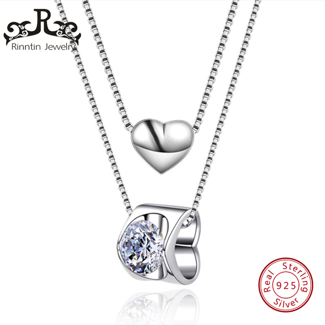 Rinntin Real 925 Sterling Silver Annuls & Heart Necklaces&Pendants Silver Chain Choker Necklaces Jewelry Collar for Women TPSN04