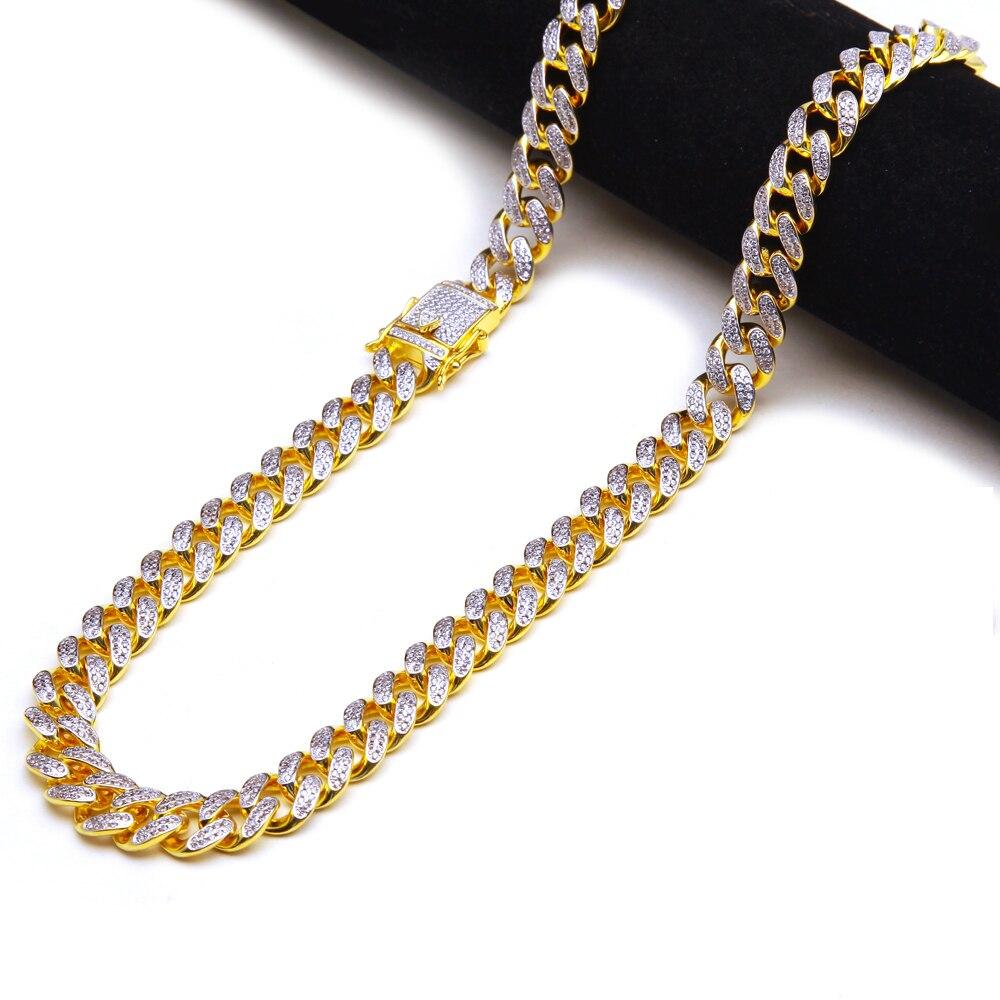 13.5 Cubic Zircon Cuban Link สร้อยคอ Silver Plated Luxury ทองแดง Micro Paved CZ Cuban Chain 16/18 /20/22/24 นิ้ว-ใน สร้อยคอแบบโซ่ จาก อัญมณีและเครื่องประดับ บน   2