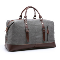 Vintage Military Canvas Leather Men Travel Bags Carry On Luggage Bags Women Duffel Bags Travel Tote