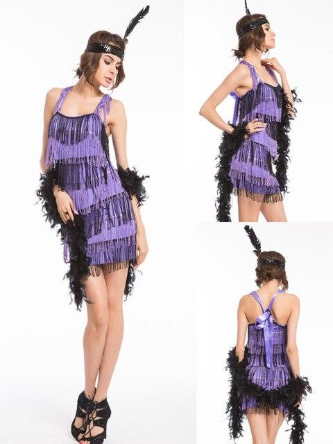 2017 New Adult 20s Black Flapper Costume Womens 1920s Fancy Dress