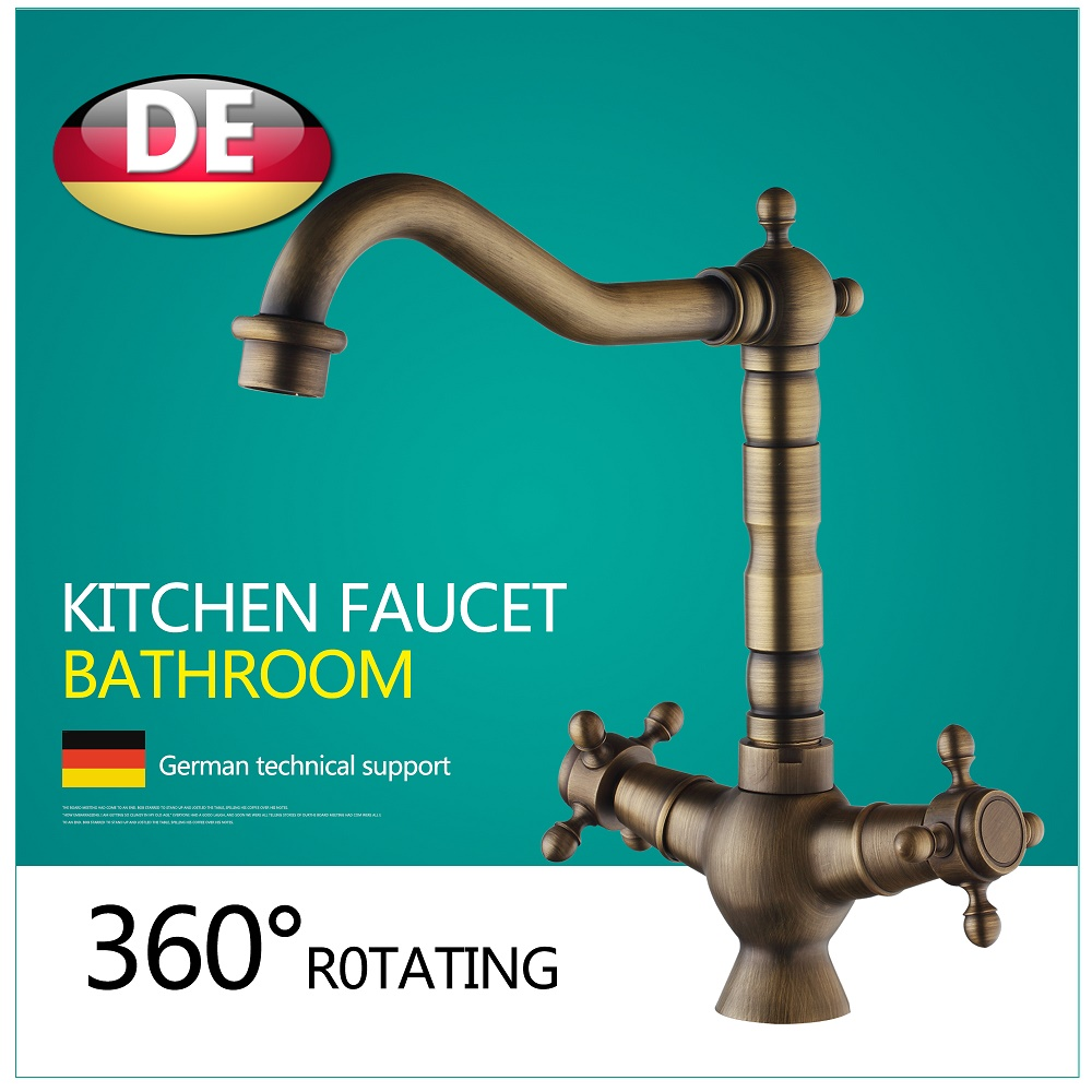 Wholesale And Retail Luxury Antique Brass Bathroom Basin Faucet Cross Handles Dragon Vanity Sink Mixer Tap Single Hole wholesale and retail antique brass hot cold vessel sink mixer tap bathroom basin faucet single handle hole