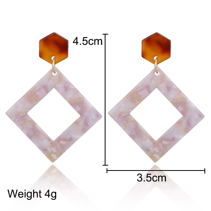 YAOLOGE Acrylic Earrings Unique Personality Oval Hollow Bohemian Style For Women Dangler Fashion Jewelry NEW in Drop Earrings from Jewelry Accessories