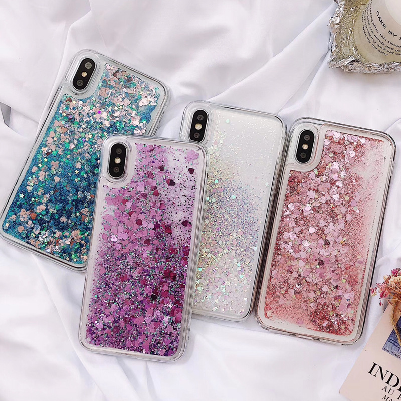 50PCS Glitter Liquid Case For iPhone Case Silicone Soft TPU Phone Cases For Samsung Coque Case Back Cover Quicksand Phone Shell image