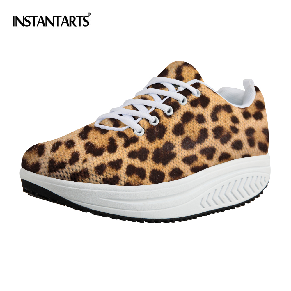 INSTANTARTS Sexy Leopard Pattern Women Sport Fitness Shoes Lightweight Platform Wedge Swing Shoes for Girls Ladies Toning Shoes fashion tassels ornament leopard pattern flat shoes loafers shoes black leopard pair size 38