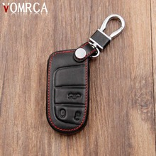 Leather Car key cover for Dodge JCUV dart journey For Fiat for Jeep wrangler Cherokee compass longitude Patriot Chrysler 300c