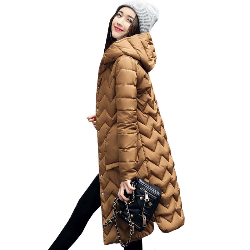 Ailegogo New Winter Women Jacket Hooded   Parkas   Long Snow Quilted Warm Slim Edge Lattice Coat Gold Army Green Jackets