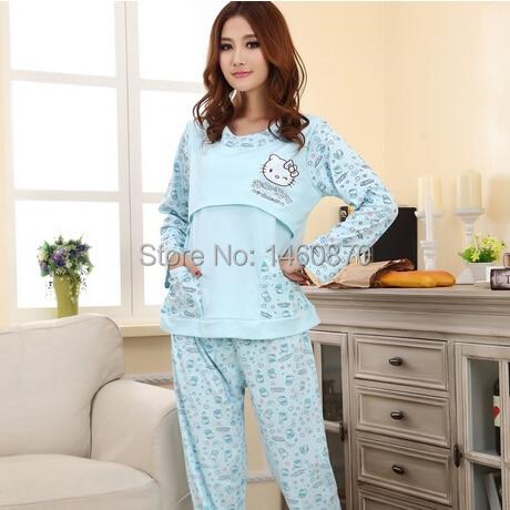 ФОТО Spring and autumn female maternity sleepwear nursing clothes 100% cotton long-sleeve sleepwear set for pregnant woman