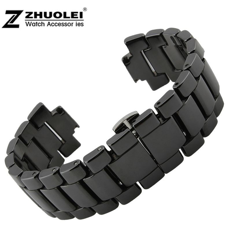 20mm 22mm Watch Strap Mens Womens Ceramic black white watchband bracelet  fashion for AR watches