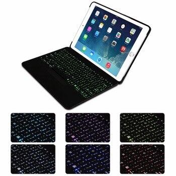 Custodia Per Tastiera Ipad | 7 Colori Di Luce Retroilluminato Tastiera Senza Fili Di Bluetooth Della Copertura Di Caso Per IPad 9.7 2017 2018 A1822 A1823 A1893 A1954 + Stylus + Film