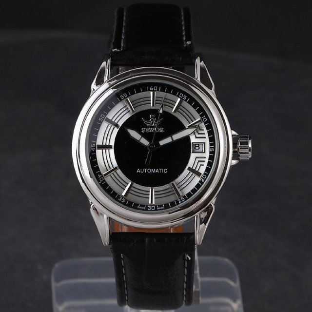 2016 Design de Moda de Luxo Homem de Negócios de Couro Esqueleto Sewor Marca Automatic Men Mecânica Militar Relógio de Pulso Relógio de Presente