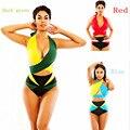 Conjuntos Tankinis Sexy Bandage Maiôs Praia Sem Encosto das Mulheres 2017 Verão Verde Azul Vermelho Feitiço Cores Da Moda Coloridos Swimwears