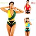 Conjuntos Tankinis Sexy Vendaje de Las Mujeres Trajes de Baño de la Playa Backless 2017 Del Verano Verde Azul Rojo Colores Hechizo Moda Coloridos Trajes de Baño
