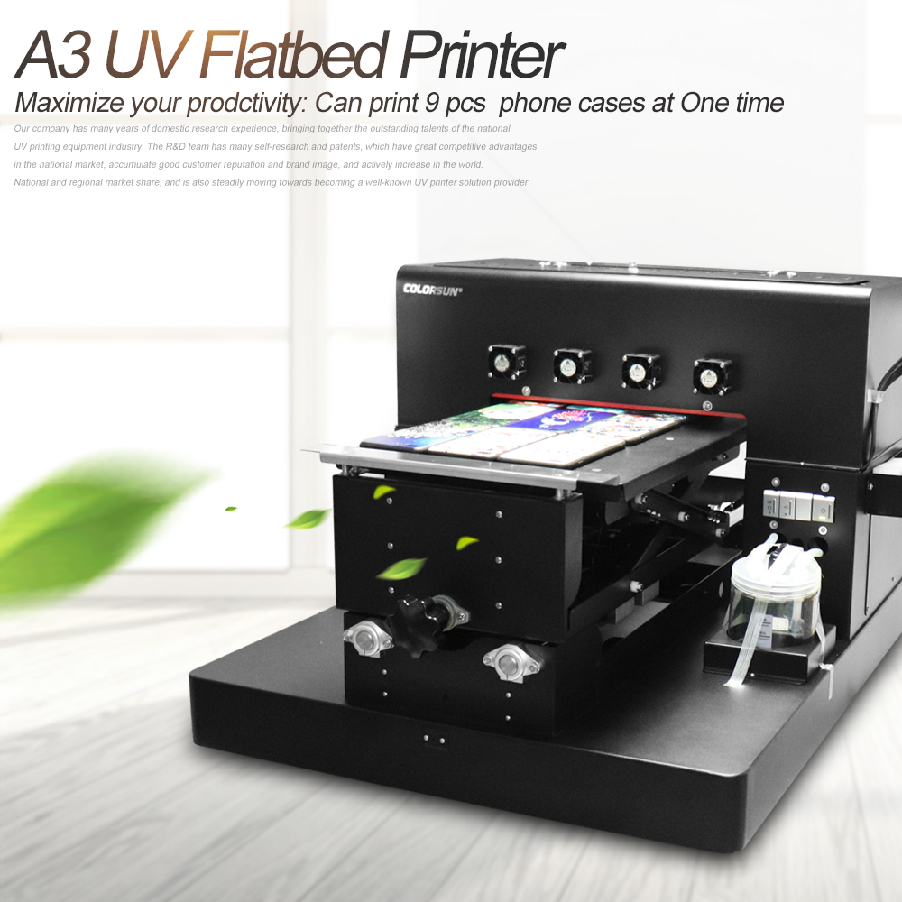 A3 UV Printer UV Flatbed Printer  Phone Case Printing Machine  for Phone Case, T-shirt, leather,TPU case printer New Upgrade