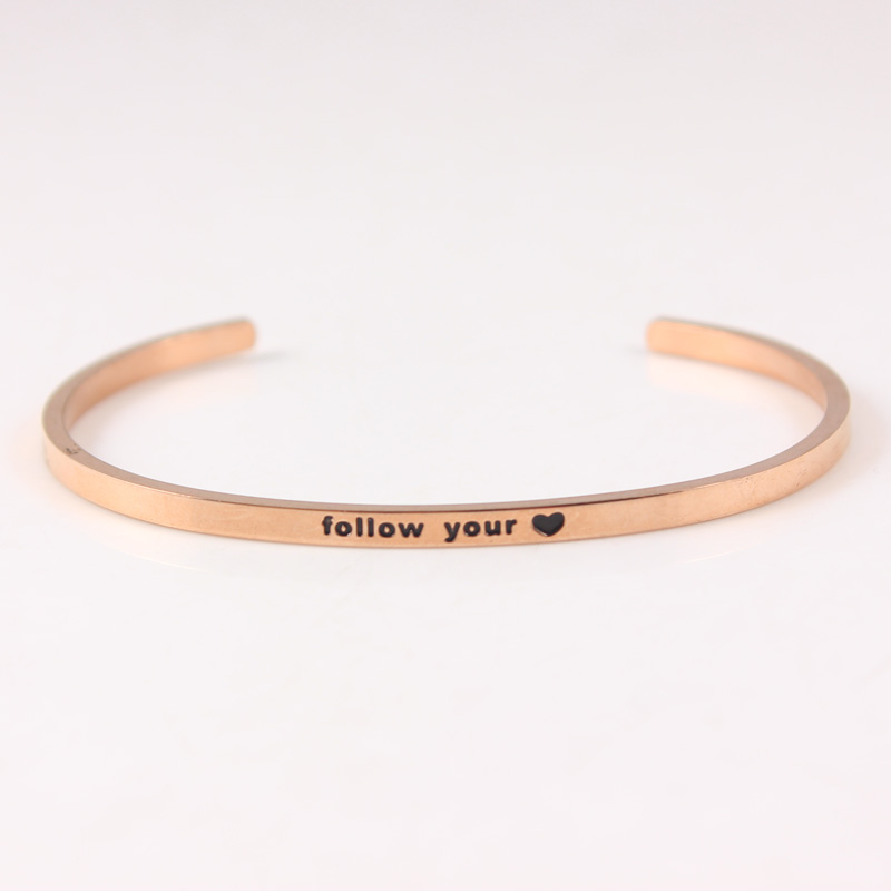 Suivez votre coeur Rose 316L bracelet en acier inoxydable citation inspirante Bracelets manchette ouverte Mantra Bracelets Bracelets