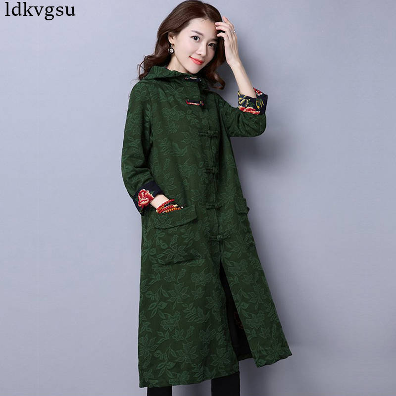 2019 New Spring Autumn Women's Cotton Linen Long Windbreaker Coat Chinese national wind button cardigan Long   Trench   Coats V412