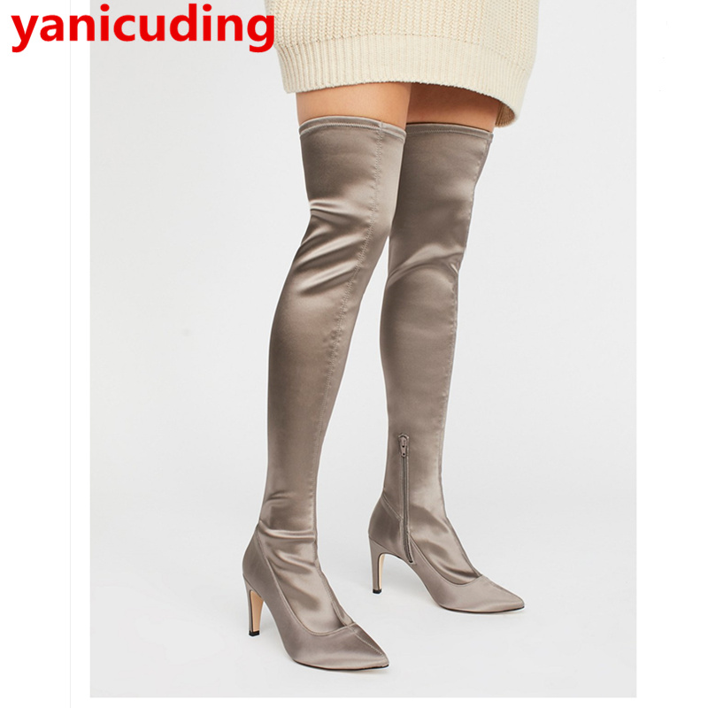 yanicuding Pointed Toe Long Booties Stretch Fabric Women Boots Sexy High Thin Heel Runway Super Star Zipped Shoes Luxury Brand fonirra women mid calf stretch fabric sock boots pointed toe sexy brand design high heel women winter boots ladies shoes 670