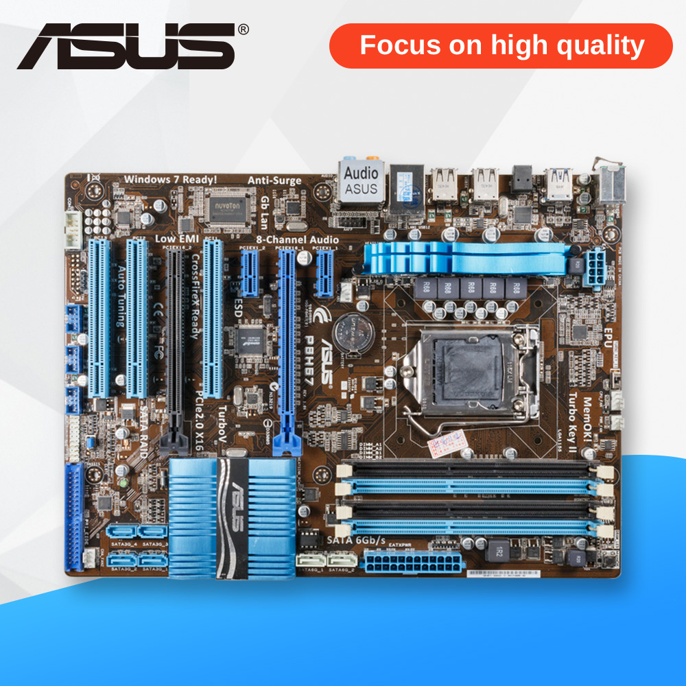 Asus P8H67 Desktop Motherboard H67 Socket LGA 1155 i3 i5 i7 DDR3 32G ATX asus p8z77 m desktop motherboard z77 socket lga 1155 i3 i5 i7 ddr3 32g uatx uefi bios original used mainboard on sale