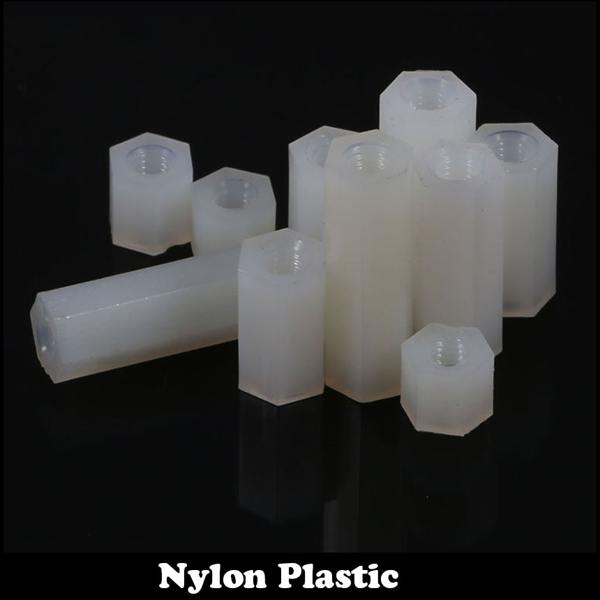 M3x8 M3*8 M3x10 M3*10 M3 Dual Nut Nylon Female To Female PCB Stud White Plastic Hexagon Hex Stand Off Pillar Spacer Standoff
