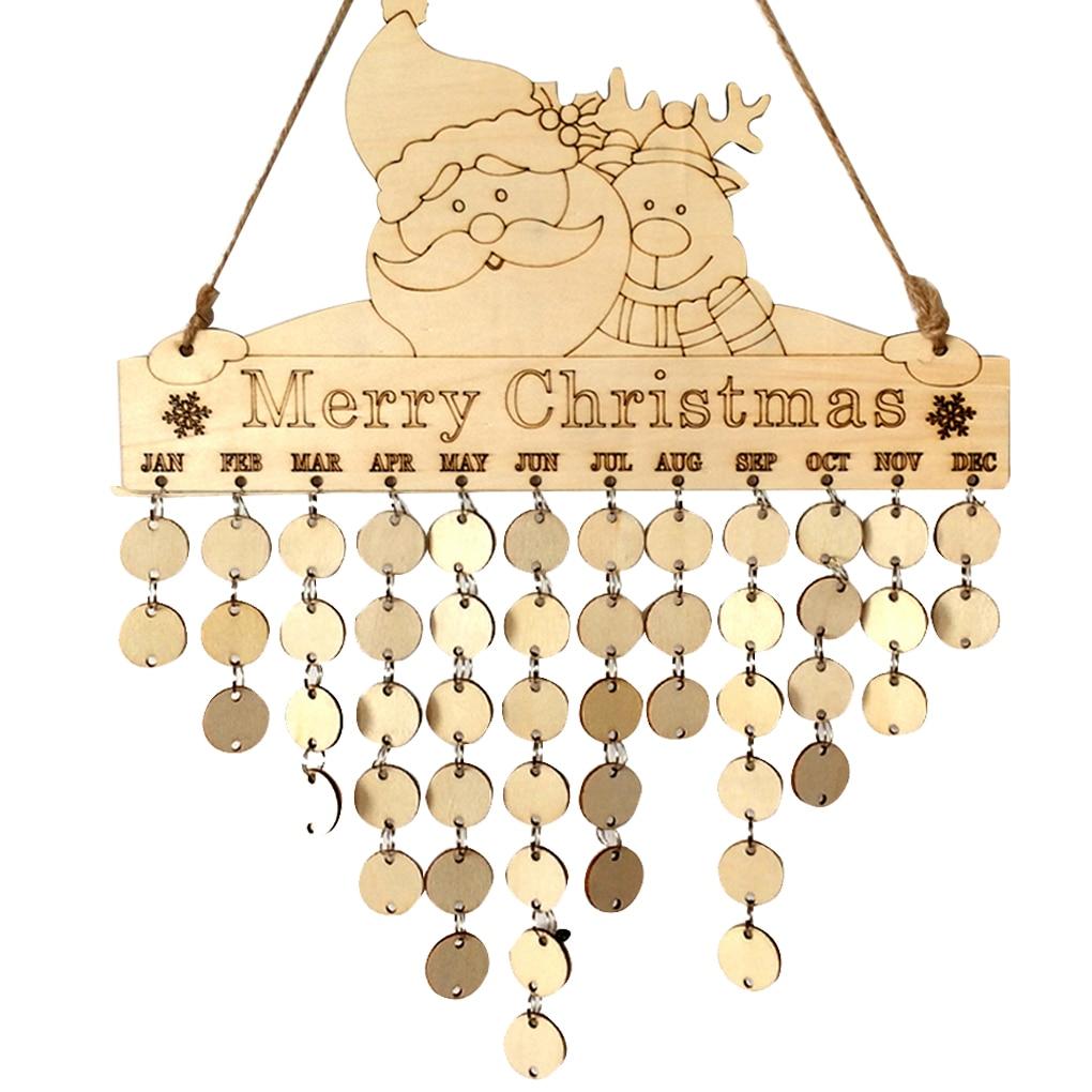 Santa Deer Hanging DIY Wooden Calendar Kalendar Reminder Board Plaque Sign House Decoration Pendant Tag