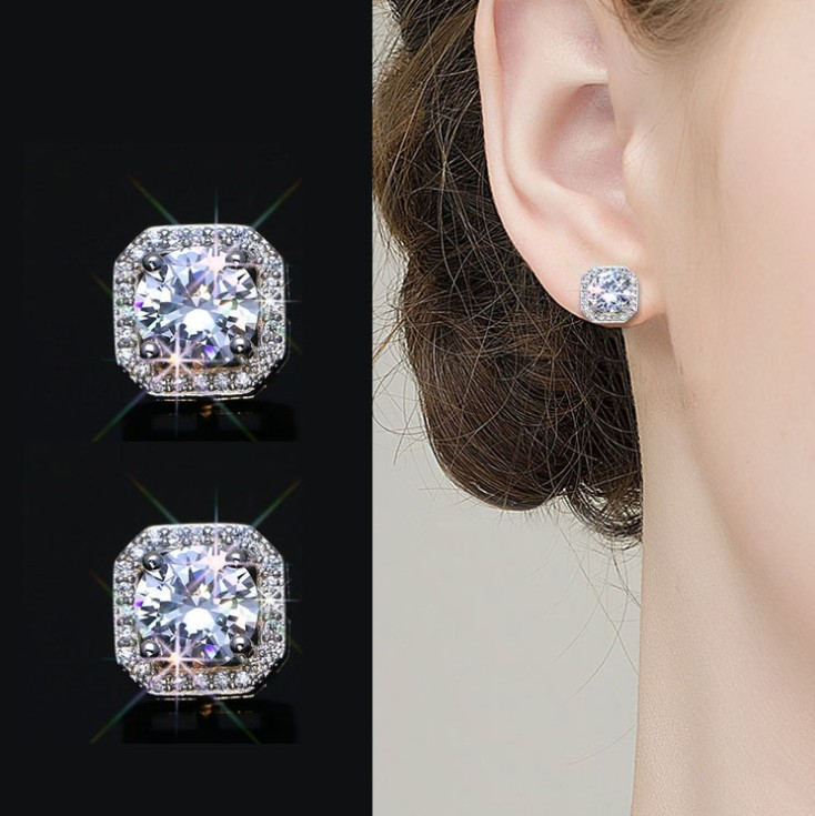 2019 New Fashion jewelry 925 silver Needle Hollow Carved Earrings Female Crystal from Swarovski Woman Christmas gift(China)