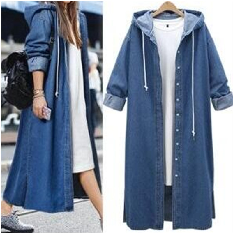 Denim   Trench   Coat European and American Ladies Fashion Style Long Sleeve Single Breasted Hooded 2019 Spring New Hot Jeans Coats