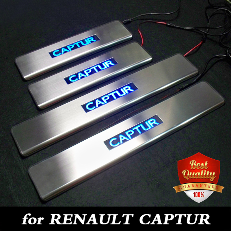Stainless Steel Blue LED light Door Sill Scuff Plate Door Sill Threshold for Renault captur / QM3 free shipping new for toyota tundra door sill stainless steel scuff plate threshold sticker accessories 4 pcs with lamp