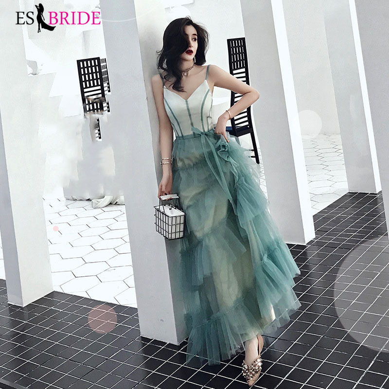 Green Sexy V-neck Formal   Dresses     Evening   Gown 2019   Evening     Dresses   Long   Evening     Dress   Student Party Robe De Soiree ES2485