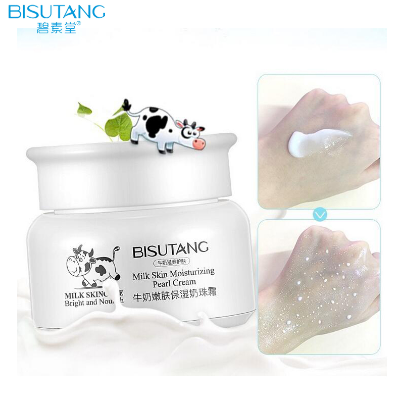 BISUTANG Milk Extract Smooth Skin Care Face Cream Hyaluronic Acid Peal Essence Whitening Moisturizing Facial Cream bisutang horse oil essence skin care set oil control face cleanser moisturizing whitening toner face cream serum eye cream