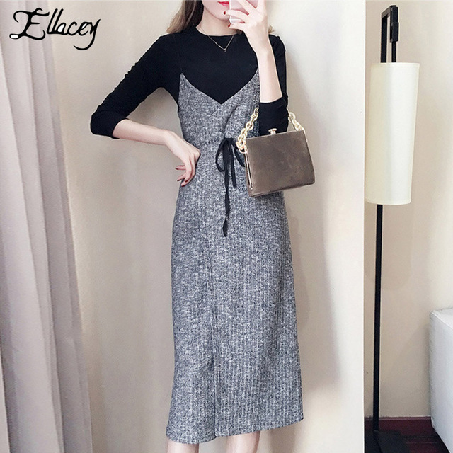 Ellacey New 2018 Autumn Women S Skirt Suits City Casual Knitted
