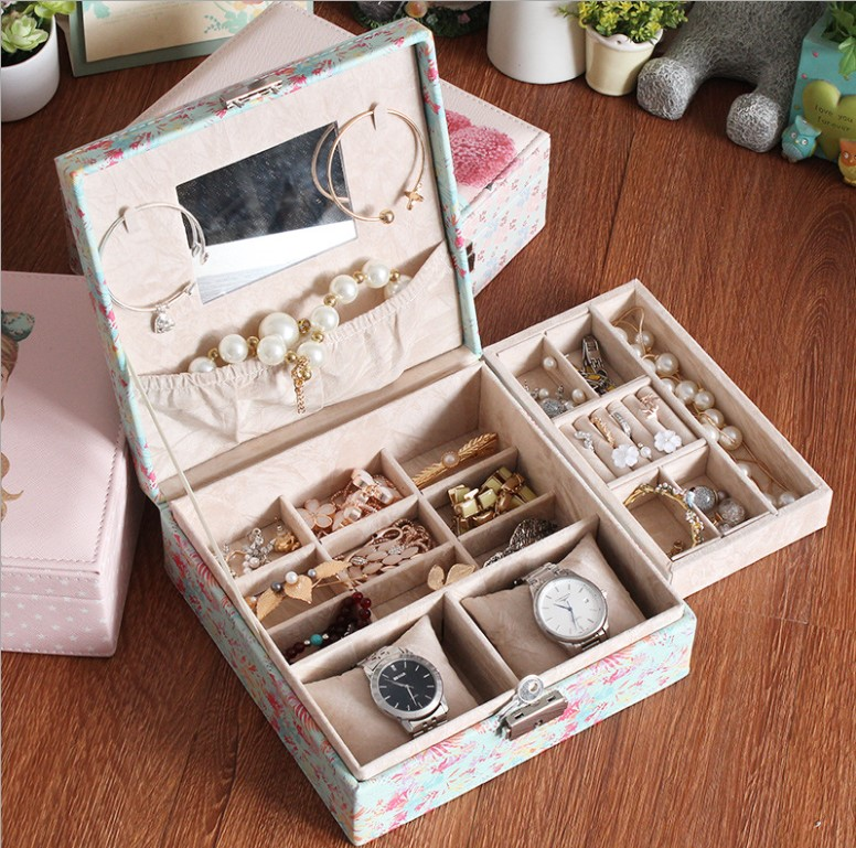 81princess portable storage box for jewelry necklace ring earrings birthday holiday girls gift wedding gifts travel jewelry box