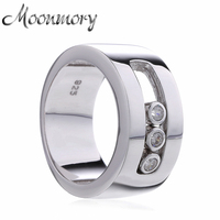 Moonmory European Style Couple Wedding 925 Sterling Silver Rings With Moveable Cubic Zirconia For Women Man Engagement Jewelry
