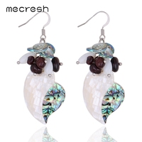 Mecresh White&Green Color Shell With Natural Stone Dangle Earrings for Women Silver Color Boucle D'oreille MEH787