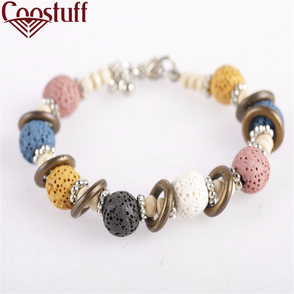 2017 Lava Stone Beads Bracelet Beautiful Bangles Bracelets For Women Nature Stone Bracelet Strand Women Bracelets Jewelry Women