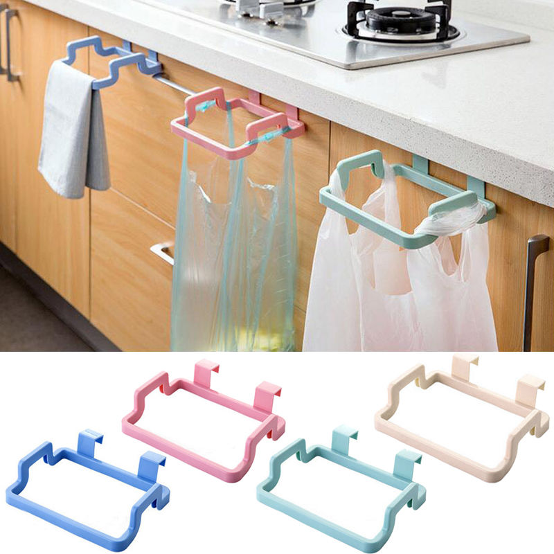 Kitchen Portable Plastic Racks Door Garbage Trash Bag Box Can Rack Hanging Holder Home Organization Accessories