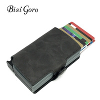 BISI GORO 2018 Men And Women 2 Metal Credit Card Holder Aluminium RFID Blocking PU Wallet