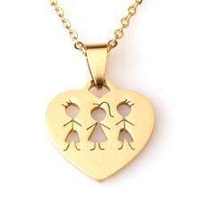 RDW Jewelry Stainless Steel Gold Family Jewelry Two Brother And One Sister Pendant Necklace Family Love Heart Shape Necklace