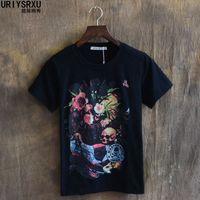 Rose Skull Dark Ghost Non Mainstream Hip Hop High Quality Famous Brand Men T Shirt Luxury