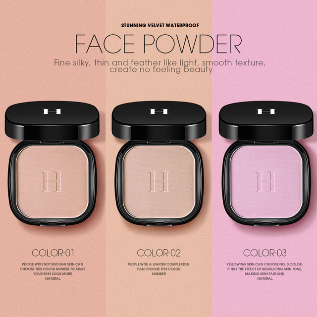HENLICS Makeup Face Pressed Powder Foundation Super Waterproof Whitening Brighten Matte Powder Palette Contour Makeup Powder 1