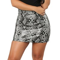2be86dc6d Sexy Leather Short Skirt Snake Zipper Printing Slim Mini Skirt Saias  Feminina Micro Mini Skirts Blue