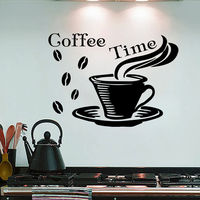Wall Decals Quote Coffee Time Cup Decal Kitchen Cafe Decor Vinyl Sticker