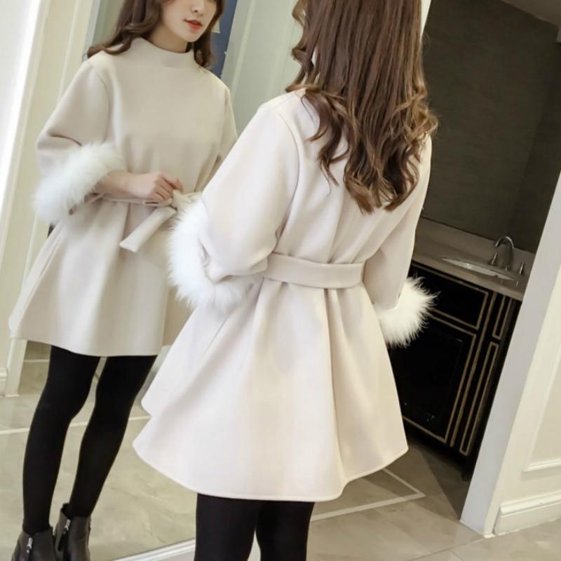 Mini Vêtements apricot caramel Lady Bureau Épais Hiver Khaki Solide Light Nouveau Filles Marque Robe 79302 2018 Femelle Femmes PikuTwOXZ