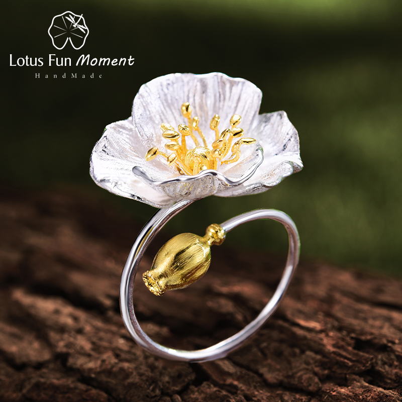 Lotus Fun Moment Real 925 Sterling Silver Vintage Gold Open Ring Fashion Jewelry Blooming Poppies Flower Rings for Women