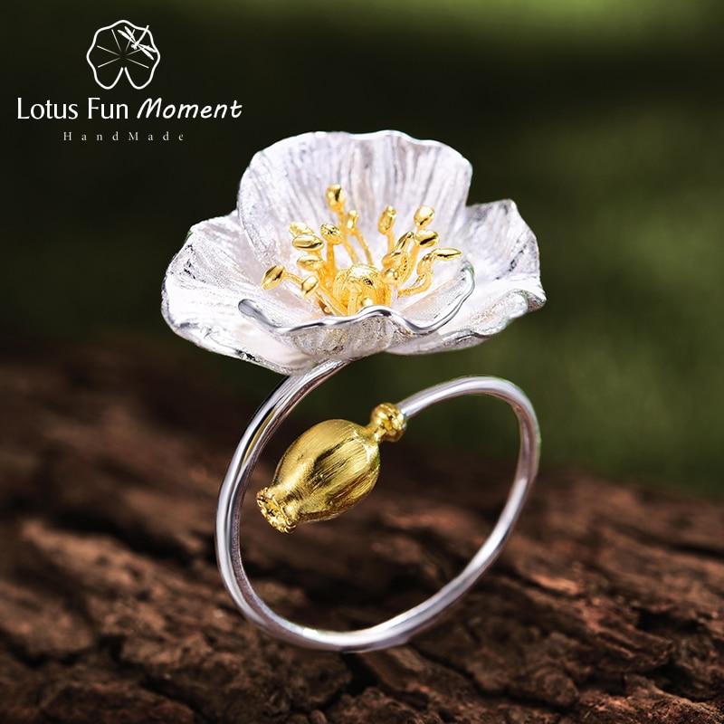 Lotus Plaisir Moment Réel 925 Sterling Argent Vintage Or Anneau Ouvert Bijoux De Mode Coquelicots Fleurissent Fleur Anneaux pour les Femmes