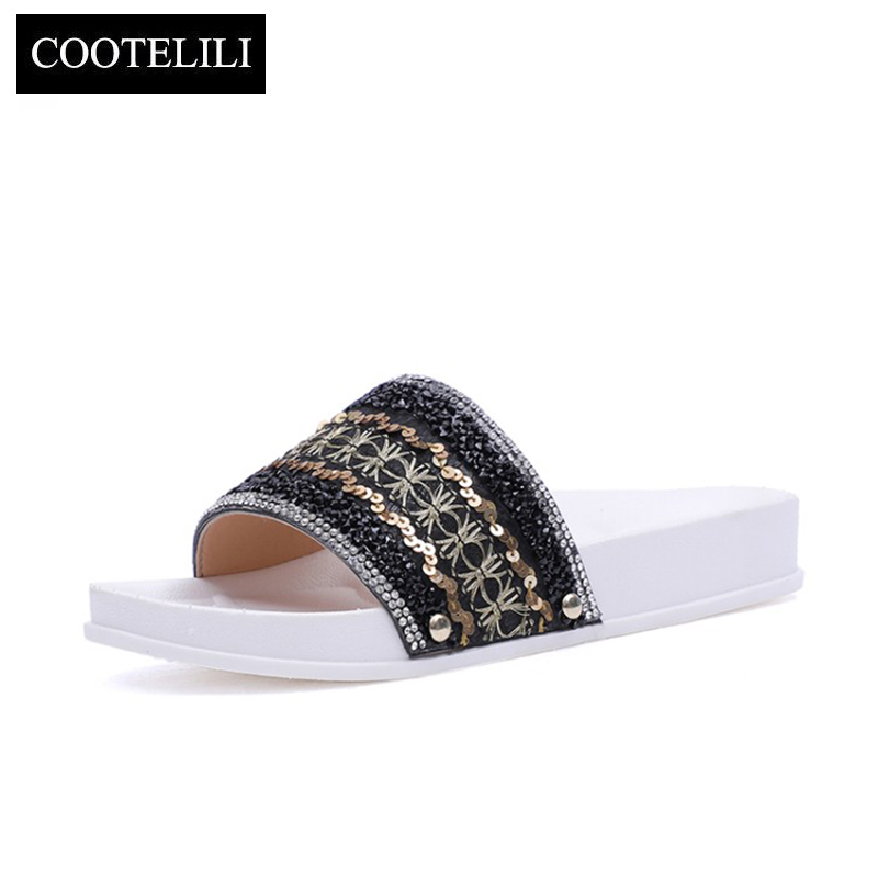 COOTELILI Women Glitter Slides Beach Sandals Summer Slippers Woman Casual Slip on Flats Shoes Bohemia Size 35-40 Dropshipping yeerfa 2017 wedges sandals beach flowers flip flops slip on flats platform shoes woman casual creepers pearl slippers size 35 41
