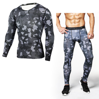 Camouflage Compression Long Sleeve T Shirt Men Fitness Brand Clothing Tshirt Pants Sets Quick Dry Crossfit