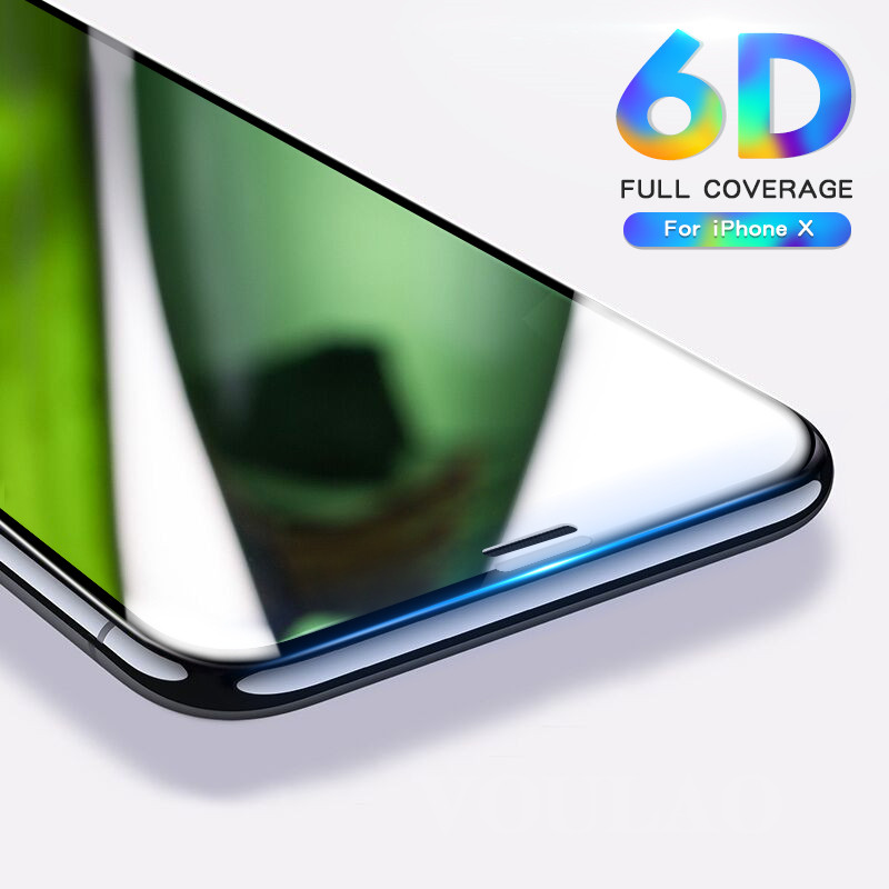 6D Full Cover Edge Tempered Glass For iPhone 8 7 6S Plus X Glass Screen Protector for iPhone 6 8 7 Plus Glass Protection Film 9H benks okr pro tempered glass screen protector for iphone 6 6s